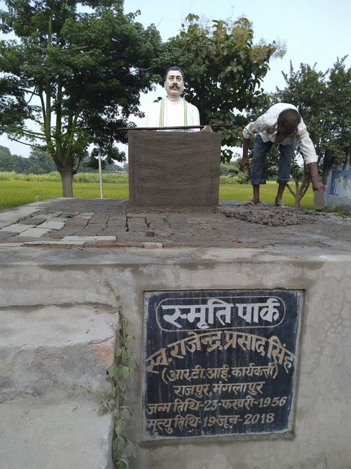 The memorial to Singh in his village