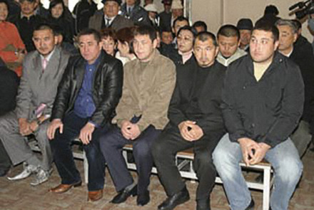 A scene during a hearing of Rysbek Akmatbayev, alleged organized-crime kingpin
