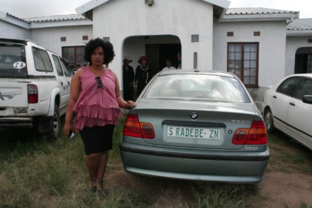 Nolwazi Radebe at the entrance to her brother's home, where he was shot dead on 22 March 2016
