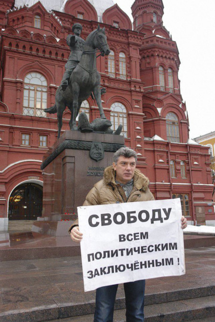 Nemtsov leading a protest, prior to his murder