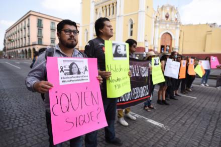 Journalists demonstrating in Xalapa